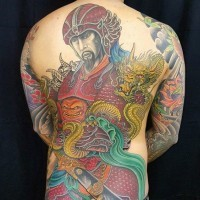 Asian style massive multicolored warrior tattoo on whole back combined with golden dragon