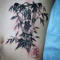 Asian traditional black ink bamboo with lettering