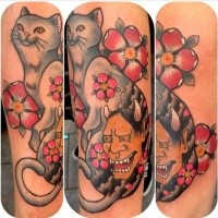 Asian traditional style colored cat tattoo with demonic mask and flowers