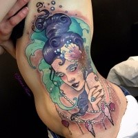 Asian traditional style colored side tattoo of geisha portrait by Jenna Kerr