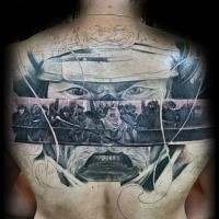 Asian traditional style colored upper back tattoo of samurai portrait combined with warriors