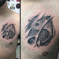 Asian Yin Yang special cracked symbol tattoo on chest in torn ripped skin in 3D style