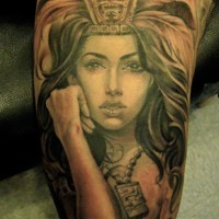 Attractive Aztec lady warrior brilliant biceps realistic tattoo
