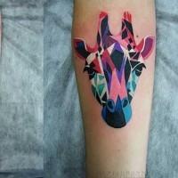 Attractive colored giraffe -head tattoo