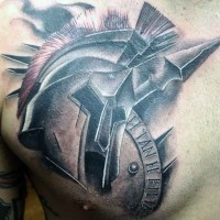 Authentic looking 3D style painted colored Spartan warrior helmet and weapons tattoo on chest area