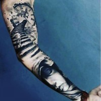 Awesome and mystical long stairs with running kid and clock tattoo on sleeve