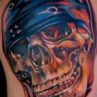 Awesome biker skull tattoo
