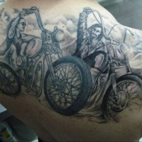 Awesome bikers on a motorcycles tattoo on back