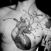 incredibile realistico  grande cuore  nero e bianco tatuaggio su petto