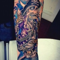Awesome black and white pirate skeleton tattoo on arm
