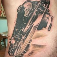 Awesome black gray biker tattoo on ribs