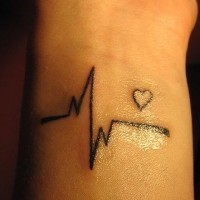 Awesome black ink heart cardiogram tattoo on wrist