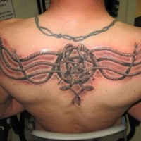 Awesome celtic knot ropes tattoo on back