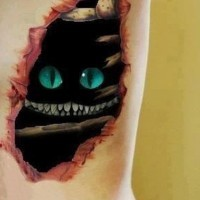 Awesome cheshire cat skin rip tattoo on ribs