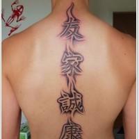 impressionante geroglifici cinese tatuaggio sulla schiena per uomini