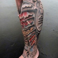 Awesome colored biomechanical tattoo on leg with evil man portrait on ankle