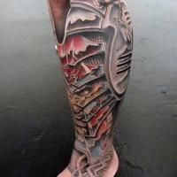 eccezionale colorato biomeccanica con uomo cattivo ritratto su caviglia tatuaggio su gamba