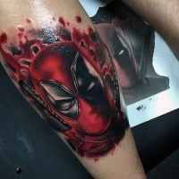 Awesome colored bloody Deadpool face tattoo