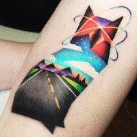 Awesome combined colored arm tattoo of cat stylized with rose and mountains by David Cote
