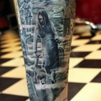 Awesome creepy horror movie zombie children on cemetery leg tattoo