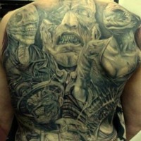 Awesome demons tattoo on whole back