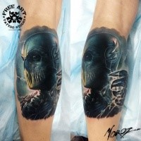 Awesome detailed and colored leg tattoo of evil Zoom form Flash