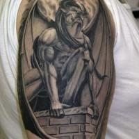 Awesome enormous gargoyle tattoo on shoulder
