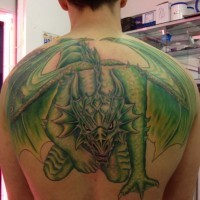 Awesome green dragon tattoo on back for men