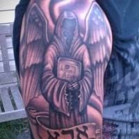 Awesome grim reaper tattoo on shoulder