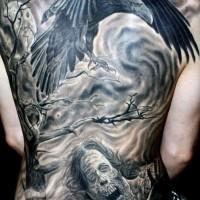 incredibile film orrore molto dettagliato orribili zombie tatuaggio pieno di schiena