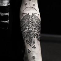 incredibile costolette umane con ali e cristalli tatuaggio da Daniel Meyer