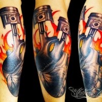 Awesome illustrative style arm tattoo of human heart with pistons