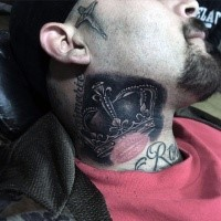 Awesome illustrative style crown tattoo with lips print