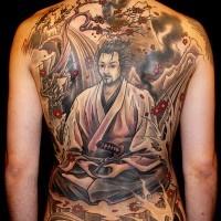 eccezionale samurai giapponese tatuaggio pieno di schiena