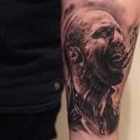 Awesome Jason Statham movie hero black and white tattoo on arm