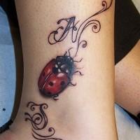 Wunderbarer Marienkäfer mit Initialen Tätowierung am Knöchel