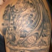 Awesome lion gargoyle tattoo
