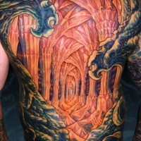 Awesome looking colored whole back tattoo of diamond cave