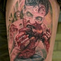 incredibile multicolore zombie sanguinante mangia tatuaggio su spalla