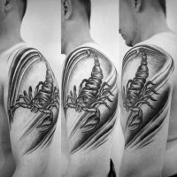Awesome on shoulder black and white detailed scorpion tattoo