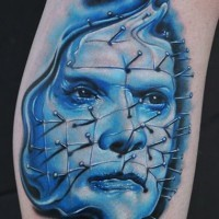 Awesome realistic looking horror movie hero tattoo on leg