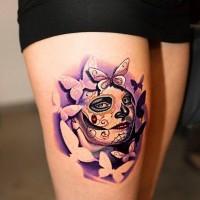Awesome santa muerte girl tattoo on thigh
