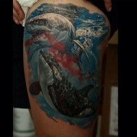 Awesome shark and orca tattoo on thigh by Dmitriy Samohin