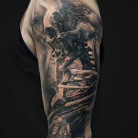 Awesome skeleton tattoo on shoulder