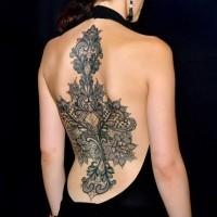 eccezionale stile dipinto massiccio  floreale tatuaggio pieno di schiena
