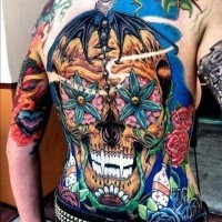 Awesome sugar skull tattoo on whole back