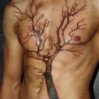 eccezionale albero tatuaggio per uomo