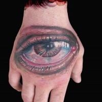 eccezionale molto dettagliato colorato occhio triste tatuaggio su mano