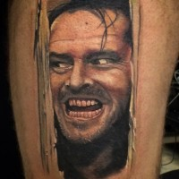 Awesome very detailed old horror movie hero portrait tattoo