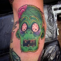 Awful creepy zombie colored horror style tattoo